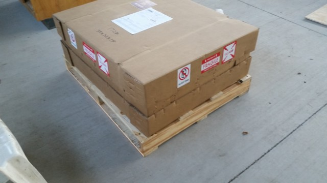 A big truck delivered this to my door about a week later. Over 200 lb including packing and pallet.